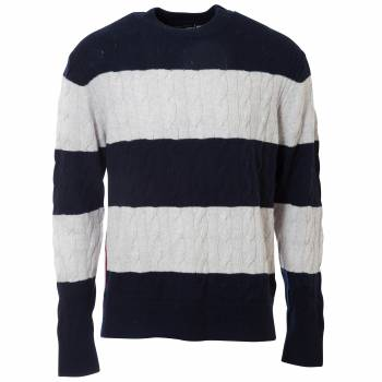Block Striped Cable Sweater Pullover Herren