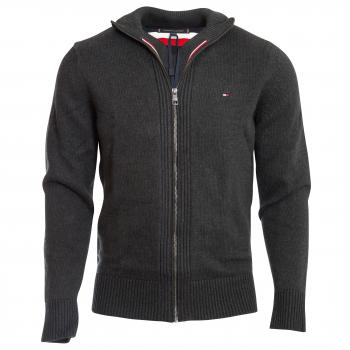 Chunky Cotton Zip Through Strickjacke Herren